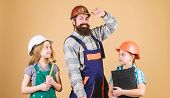 Father Builder And Kids Girls Repair Home. Teach Daughter. Informal Education. Fathers Day. Sisters  poster