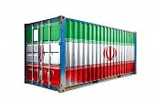 The Concept Of  Iran Export-import, Container Transporting And National Delivery Of Goods. The Trans poster