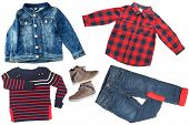 Top View On Child Boy Set Of Clothes. Collage Of Apparel Clothing. Jeans ,shirt, Shoes And Jeans Jac poster