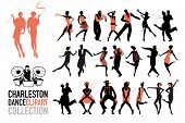 Charleston Dance Clipart Collection. Set Of Jazz Dancers Isolated On White Background. poster