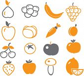 stock photo of fruits vegetables  - vector  - JPG