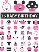30 baby birthday signs. vector