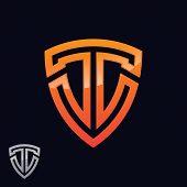 Logo, Abstract, Vintage Old Style Logo Icon Monogram. Letter T Logo. Royal Hotel, Premium Boutique,  poster