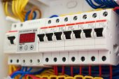 Fuse Box, Power Supply Circuit Breakers. Voltage Switchboard With Electric Automatic. Control Panel poster