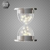 True Transparent Hourglass With Glowing Lights Inside, Isolated On Transparent Background. Simple An poster