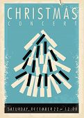 Christmas Concert Retro Poster Design Idea Wit Christmas Tree Made From Piano Keys. Vintage Vector I poster