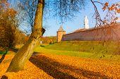 Veliky Novgorod, Russia. Fedor Tower And Clock Tower Of Veliky Novgorod Kremlin At Autumn Sunny Day. poster
