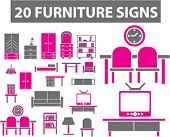 20 furniture icons, illustrations, vector