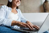 Cropped image of young happy woman indoors at home using laptop computer sit on sofa in livingroom. poster