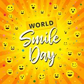 World Smile Day, October 4th Banner Design. Smiley Icons And Lettering World Smile Day On Yellow Bea poster