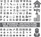 100 business & architecture, real esate, construction, icons, signs, vector illustration