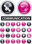 communication icons, signs, vector illustrations set