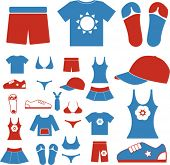 summer dress & clothes icons set, vector