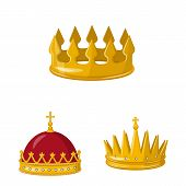 Vector Illustration Of Monarchy And Gold Icon. Collection Of Monarchy And Heraldic Stock Vector Illu poster