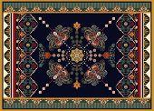 Colorful Ornamental Vector Design For Rug, Carpet, Tapis. Persian Rug, Towel, Textile. Geometric Flo poster