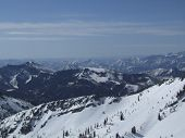 foto of snowbird  - View of the Wasatch mountains from the top of Snowbird resort - JPG