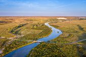 river meandering through Nebraska Sandhills - aerial view of the MIddle Loup River above Halsey poster