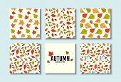 Autumn Textures. Vector Design For Card, Poster, Flyer. Trendy Hand Drawn Seamless Patterns. Fall Le poster