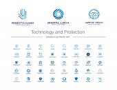 Digital Technology And Protection Creative Symbols Set. Security Lock Abstract Business Logo Concept poster