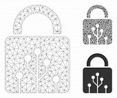 Mesh Circuit Lock Model With Triangle Mosaic Icon. Wire Frame Polygonal Mesh Of Circuit Lock. Vector poster