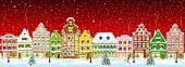 Winter Night In The Old Town On The Eve Of Christmas. City Street In Winter. Christmas Eve. The Hous poster