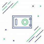 Blue And Green Line Safe Icon Isolated On White Background. The Door Safe A Bank Vault With A Combin poster