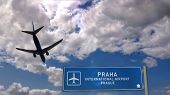 Airplane Silhouette Landing In Praha, Prague, Czech, Czech Republic. City Arrival With Airport Direc poster