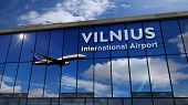 Jet Aircraft Landing At Vilnius, Lithuania 3d Rendering Illustration. Arrival In The City With The G poster