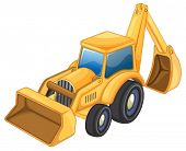 pic of jcb  - illustration of tractor jcb on a white background  - JPG