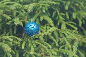 Christmas Tree Decoration. Christmas Ball With Pine Branch.green Pine Branches And Blue Christmas Ba poster