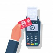 Nfc Concept. Landing Page Contactless Payment. Non-cash Payment Transactions. Businessman Is Calcula poster