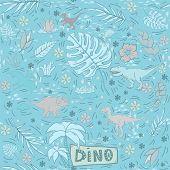 Dinosaur Vector Seamless Pattern On A Blue Tones Background.wild Creature Predator.dinosaur Period.r poster