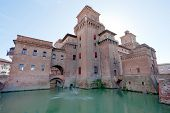 pic of ferrara  - moat and fountain of Castello Estense in Ferrara Italy - JPG