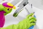 stock photo of bathroom sink  - Cleaning  - JPG