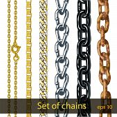 Set of chains. Gold, silver, steel, painted metal, rusty iron