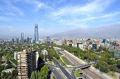 Skyline of downtown Santiago, the capital of Chile, featuring 300-meter high Gran Torre Santiago, th
