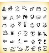 Set of 42 hand-drawn icon in different themes, like work, business, ecology, time and symbols