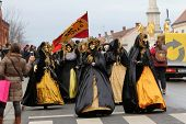 ZAGREB, CROATIA, FEBRUARY 02: Carnival parade on Shrove Saturday. Carnival masks from Croatia.They b