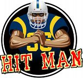 stock photo of slam  - : A football player with white helmet and blue jersey, with a mean look on his face, slamming his fist into the palm of his other hand. It could be used for a sticker or decal on a helmet. - JPG
