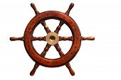 picture of ship steering wheel  - boat steering wheel made of wood and brass on white background - JPG