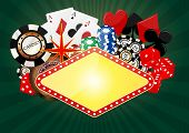 foto of gambler  - illustration of blank banner with object casino - JPG