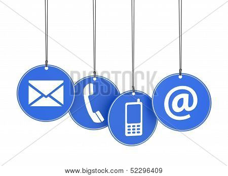 Web Contact Us Icons On Blue Tags poster