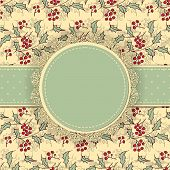 image of holly  - Round label with lace border and dotted ribbon on patterned background with holly berries and leaves Christmas background - JPG