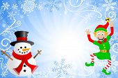 stock photo of gnome  - A blue christmas background with a snowman and an elf - JPG