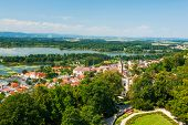 Aerial view at the Czech town Hluboka nad Vltavou from the castle