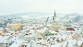 Cesky Krumlov, Czech Republic. The town from the castle in  a beautiful winter day.