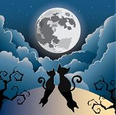 silhouette of two cute kitty cat under the full moon ,halloween vector