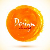 pic of acrylic painting  - Bright orange watercolor vector circle with place for your text - JPG