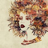 art colorful sketched beautiful girl face in profile with flowers in hair on sepia background