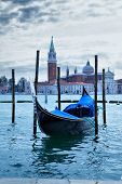 picture of gondola  - Gondola near Saint Mark square at morning  - JPG